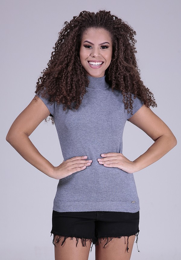 1960882- Blusa Baby Look Tricot Cinza