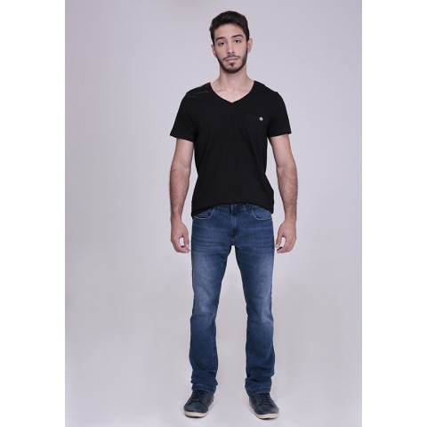1757689- Calça Slim Jeans Destroyed+Laser+Used