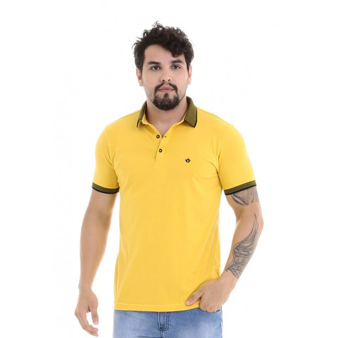 4750127-Blusa Gola Polo UK Cotton Amarelo