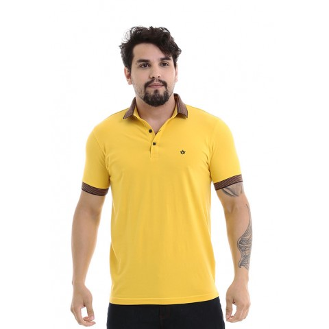 4750135-Blusa Gola Polo UK Cotton Amarelo