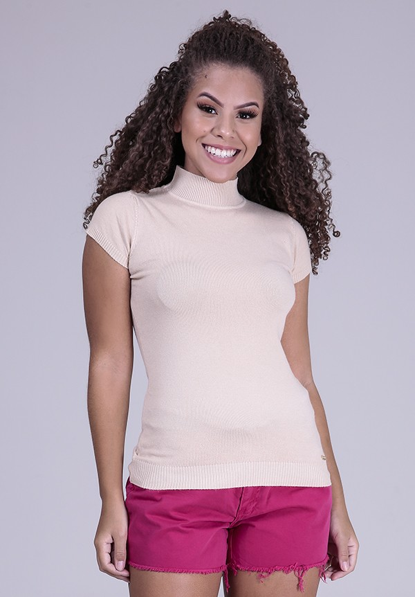 1960883- Blusa Baby Look Tricot Bege